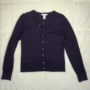 White House Black Market Purple Button up Sweater